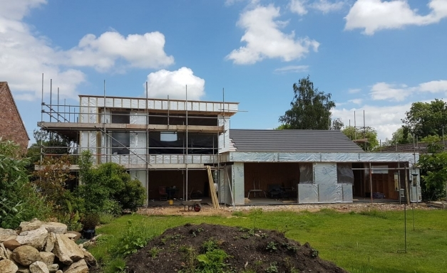 Inspiring Modern Makeover Pitched Roof Tiles Our Being Installed Modern Architecture Pitched Roof Pic