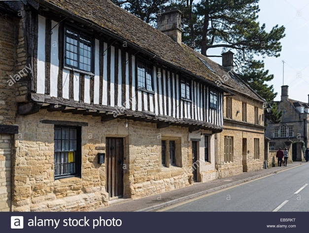 Marvelous Half Timbered Black And White Cotswold Stone House Northleach Half Stone House Pic
