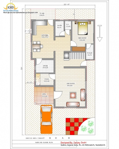 Remarkable Duplex House Plan And Elevation 2310 Sq Ft Home Appliance 1000 Square Feet Indian House Plans Photo