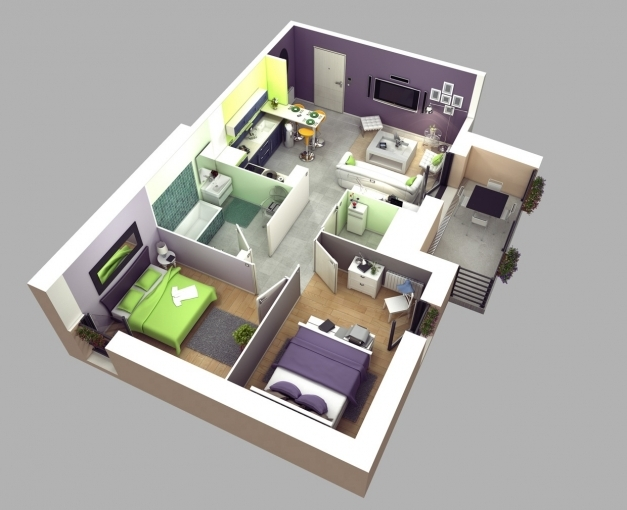 Stylish 50 3d Floor Plans Lay Out Designs For 2 Bedroom House Or Apartment 3d Images Of 2 Bedroom House In The Phil Images