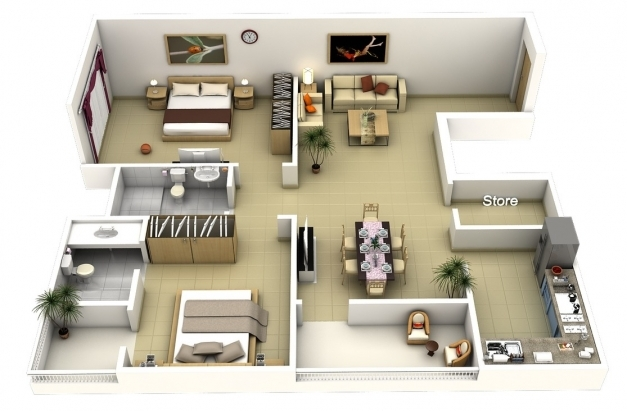 Wonderful 50 3d Floor Plans Lay Out Designs For 2 Bedroom House Or Apartment 3d Images Of 2 Bedroom House In The Phil Picture
