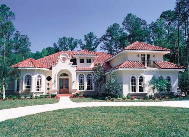 Wonderful Exterior Spanish Mediterranean Style With Roof In Spanish And Exterior Wall Colours That Match With A Tile Red Roof Image