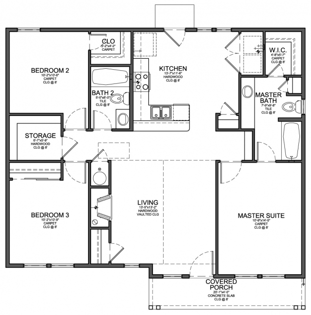 Awesome Floor Plan For Small 1200 Sf House With 3 Bedrooms And 2 3 Bedroom Floor Plan Images