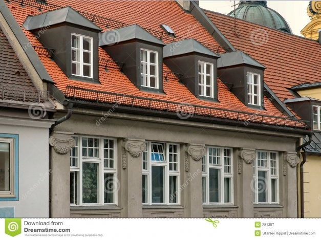 Awesome Red Tile Roof And Gabled Dormer Windows In Munich Germany Stock Dormer Window Roofs Images