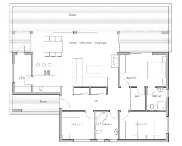 Awesome Small Contemporary House Ch140 1f130m3b Great House Plan Contemporary House Plans Photos