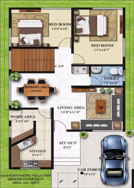Best Download Duplex House Plans For 3050 Site East Facing Adhome Home Plan 15*50 Pics