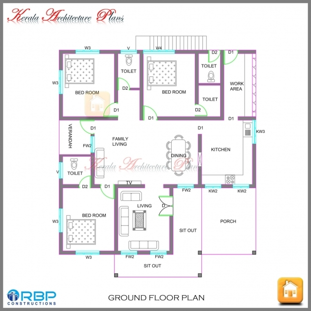 Delightful Kerala Style Single Storied House Plan And Its Elevation Kerala Floor Plans Photos
