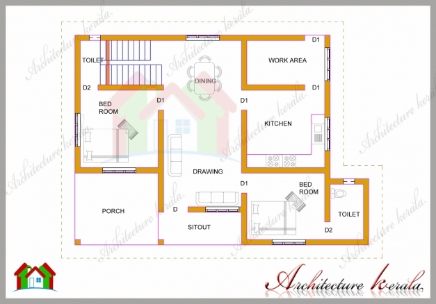 Fantastic Interesting Idea 2 Bhk House Plans Kerala 1 1200 Square Feet Two 1200 Sq Ft House Plans In Kerala With Photos Images