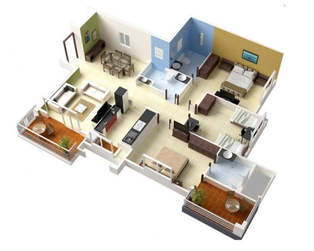 Gorgeous 20 Designs Ideas For 3d Apartment Or One Storey Three Bedroom 3 Bed Room Home Pplan Single Floor Images