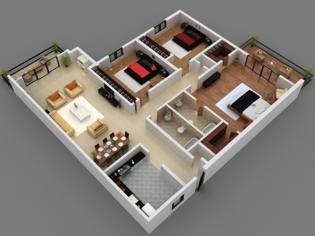 Gorgeous 3d Plan Of A House 4 Bedroom 3d 4 Bedroom House Plans This Is A 3d 4 Bedroom House 3d Image