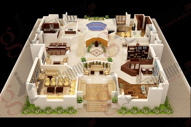 Incredible Decor Home Design With 3d Floor Plan Layout And 2 Bedroom House 3d House Plans Indian Style Picture