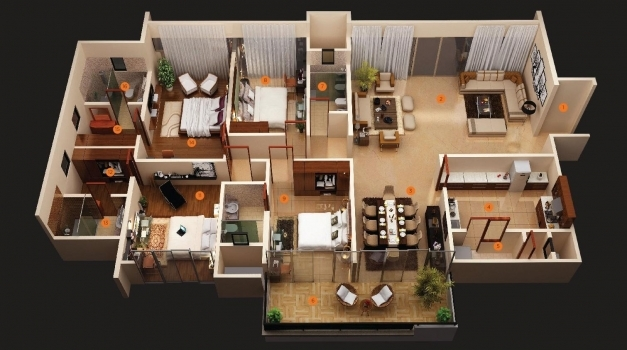 Inspiring 3d 4 Bedroom House Plans With Photos Condointeriordesign 4 Bedroom House 3d Image
