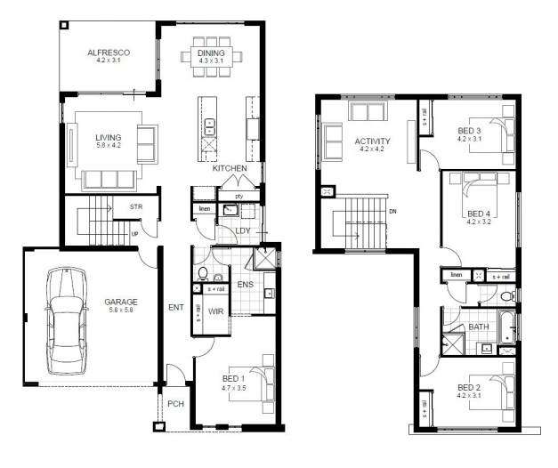 Inspiring Charming Two Story Four Bedroom House Plans Gallery Best Four Bed Room Plan Pictures