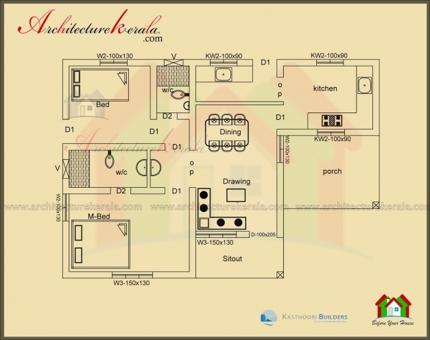 Marvelous Below 1000 Square Feet House Plan And Elevation Architecture Kerala 2 Bedroom House Plans Kerala Style 1000 Sq Feet Pictures