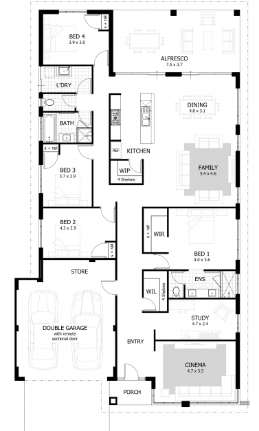 Outstanding Shiny 4 Bedroom Home Plans 75 House Plan With 4 Bedroom Home Four Bed Room Plan Images