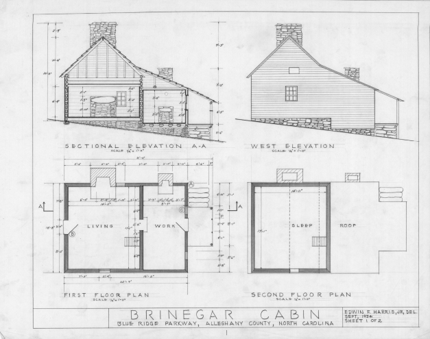 Remarkable Cross Section West Elevation Floor Plans Brinegar House Plan Elevation And Section Drawings Image