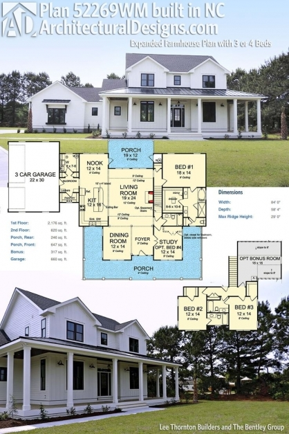 Remarkable Plan 52269wm Expanded Farmhouse Plan With 3 Or 4 Beds Modern Modern Farmhouse Open Floor Plans Pictures