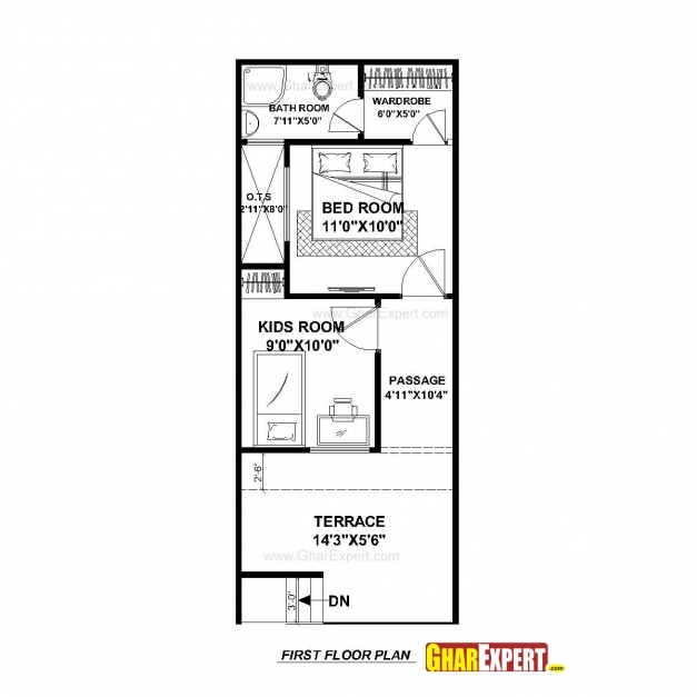 Stylish 20 X 40 Floor House Plans On 28 Along With 16 Feet Wide Row Home Home Plan 15*50 Image