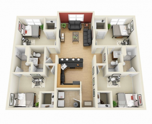 Stylish 3d Plan For A 4 Bedroom House 3d Floor Plans 4 Bedroom House 4 Bedroom House 3d Photo