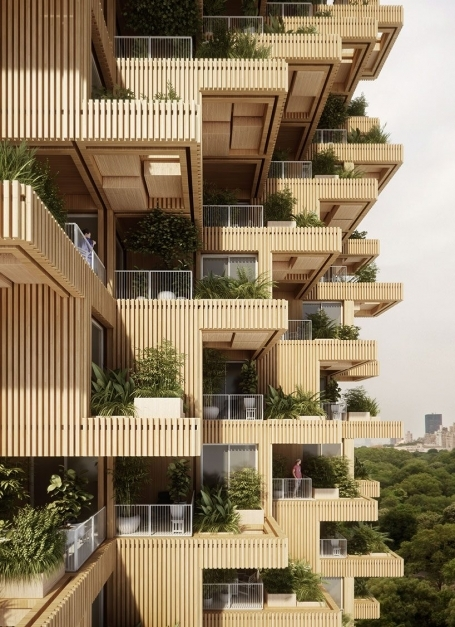 Stylish Penda Tmber Proposal For A Timber Tower Bridges The Gap Between Architectural Design Of Residential Building Picture
