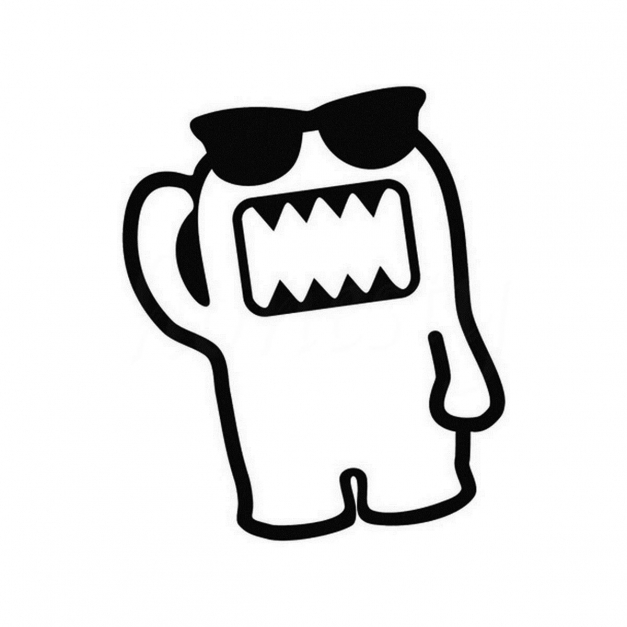 Amazing Cute Monster With Glasses Car Sticker Wall Home Glass Window Door Black And White Domo Images
