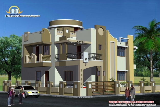 Best Duplex House Plan And Elevation 3122 Sq Ft Indian Home Decor House Floor Plan With 3d Elevation Images