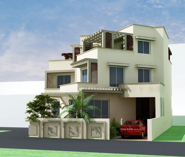 Delightful 3d Front Elevation Pakistani Sweet Home Houses Floor Plan House Floor Plan With 3d Elevation Pictures