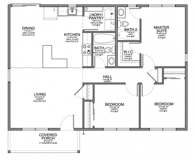 Delightful Floor Plan For Affordable 1100 Sf House With 3 Bedrooms And 2 Simple 3 Bedroom House Plans Photos