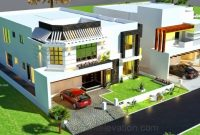 Marvelous 3d Front Elevation 1 Kanal House Drawingfloor Planslayout House Floor Plan With 3d Elevation Pictures
