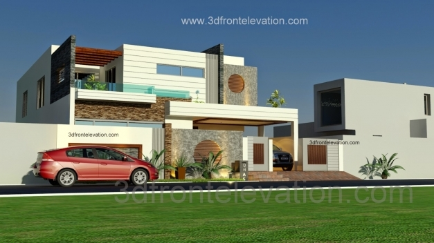 Outstanding 3d Front Elevation 1 Kanal Beautiful Modern House Plan And 3d House Floor Plan With 3d Elevation Images
