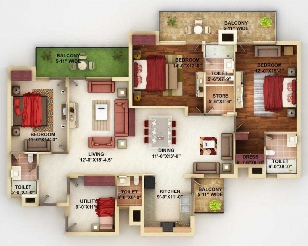 Fascinating 4 Bedroom House Designs 3d Pictures In 2018 With Outstanding Floor 3d 4 Bedroom House Plans Images