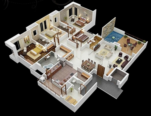 Fascinating 50 Four 4 Bedroom Apartmenthouse Plans Bedrooms 3d Interior 3d 4 Bedroom House Plans Image