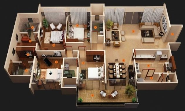 Stylish Simple House Plan With 4 Bedrooms 3d Ideas Including Fascinating Simple 4 Bedroom House Plans 3d Images