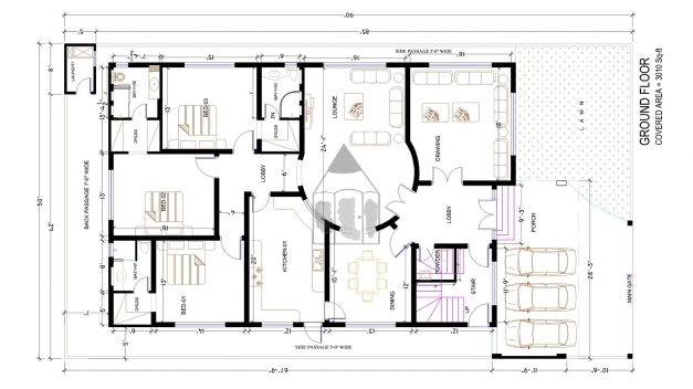 Amazing Ground Floor Architectural Plan Of 1 Kanal House The House Has 15 Ft = 50 Ft Plot Maps Pic
