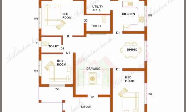 Fascinating Three Bedrooms In 1200 Square Feet Kerala House Plan Three Bedroom House Plans Kerala Style Pic