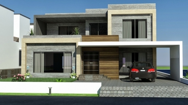 Stunning Front Elevation Modern House Front Single Story Rear 2 Stories Latest Home Front Elevation Photo