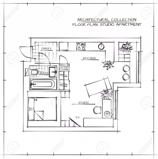 Fantastic Architectural Hand Drawn Floor Plan Studio Apartment Royalty Free How To Draw A Floor Plan By Hand Pic