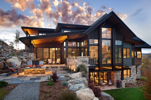 Stylish Floor Plan Small Cabins Tiny Houses Cabin House Design Exterior Modern Mountain House Image