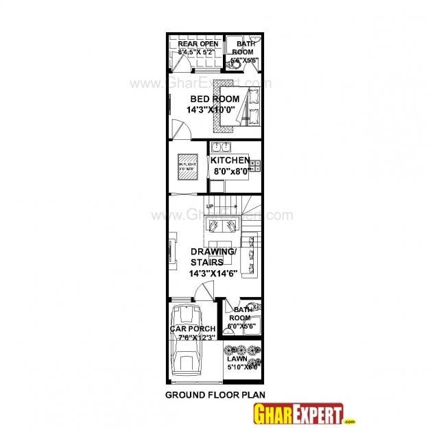 Stylish House Plan For 16 Feet 54 Feet Plot Plot Size 96 Square Yards House Plan 15×50 Pictures
