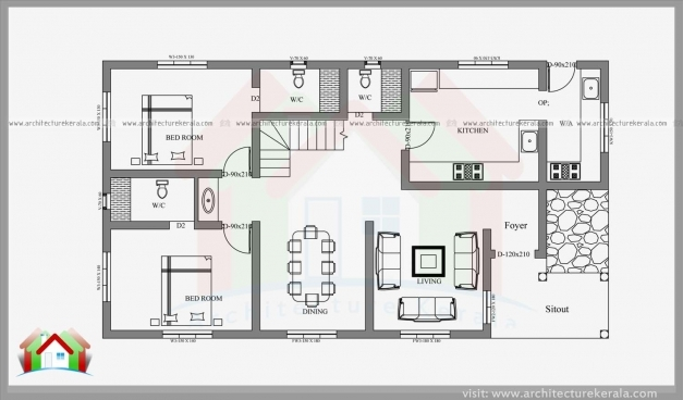 Awesome Bedroom House Plans Kerala Style 2 Good In Modern And Elevations 3 2 Bedroom House Plan Kerala Style Photos