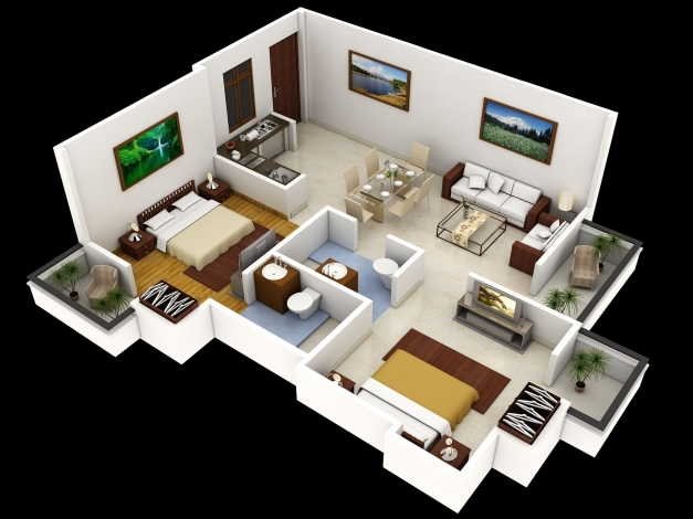 Wonderful Bedroom Story House Plans Inspirations 3d With 2 Bedrooms Gallery 3d House Plans With Dimensions Photo