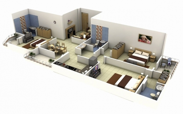Incredible Awesome 3 Bedroom House Plans 3d View Luxury 3 Bedroom Apartment 3d View Of 3 Bedroom House Plans Pics