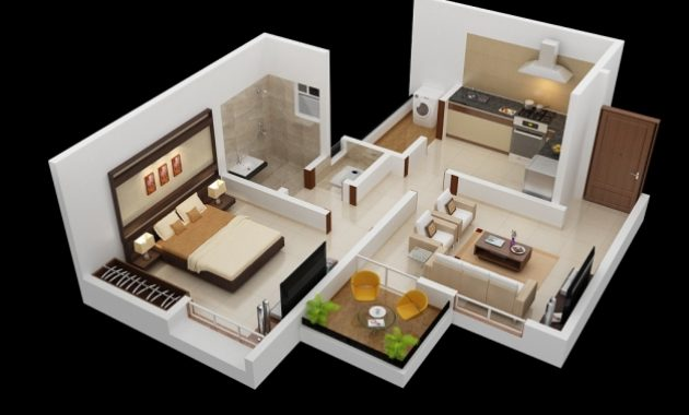 Inspiring Simple One Bedroom Apartment Plans And Designs Simple House Plans One Bedroom House Plan 3d Pictures
