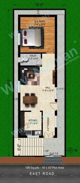Fascinating Way2nirman 100 Sq Yds 18x50 Sq Ft East Face House 1bhk Elevation 15×50 House Elevation Pics