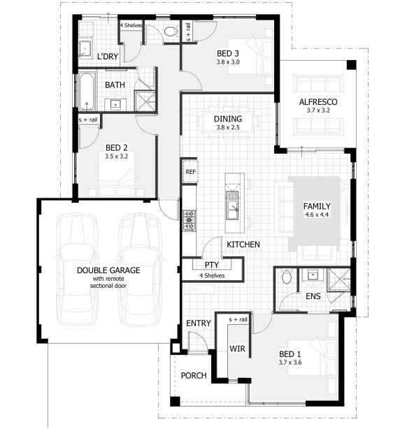 Awesome 3 Bedroom House Plans Home Designs Celebration Homes 3 Bedroom House Plans Photo