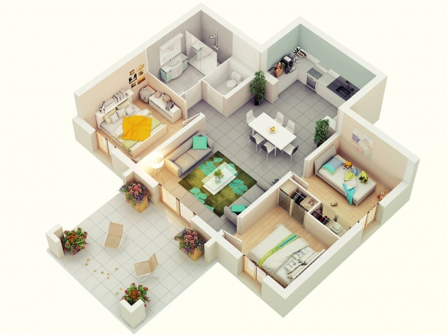 Outstanding 3d Floor Plans Home Design Simple House Plan With 6 Bedrooms 3d Image