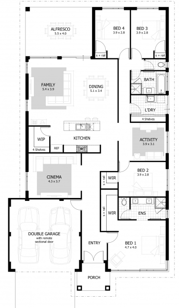 Stylish 4 Bedroom House Plans Home Designs Celebration Homes Simple House Plan With 4 Bedrooms Pics